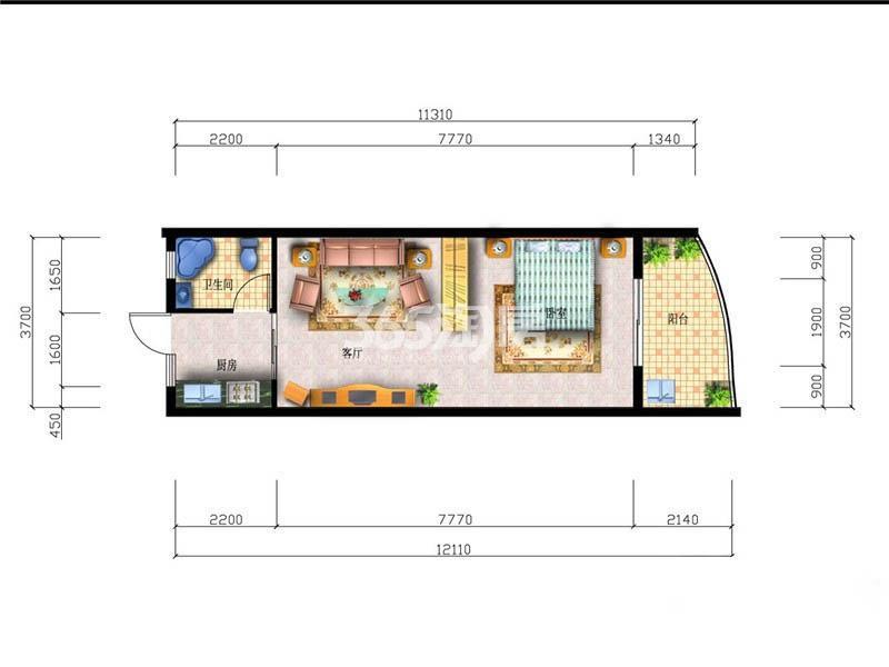 1室1厅1卫1厨 47.14