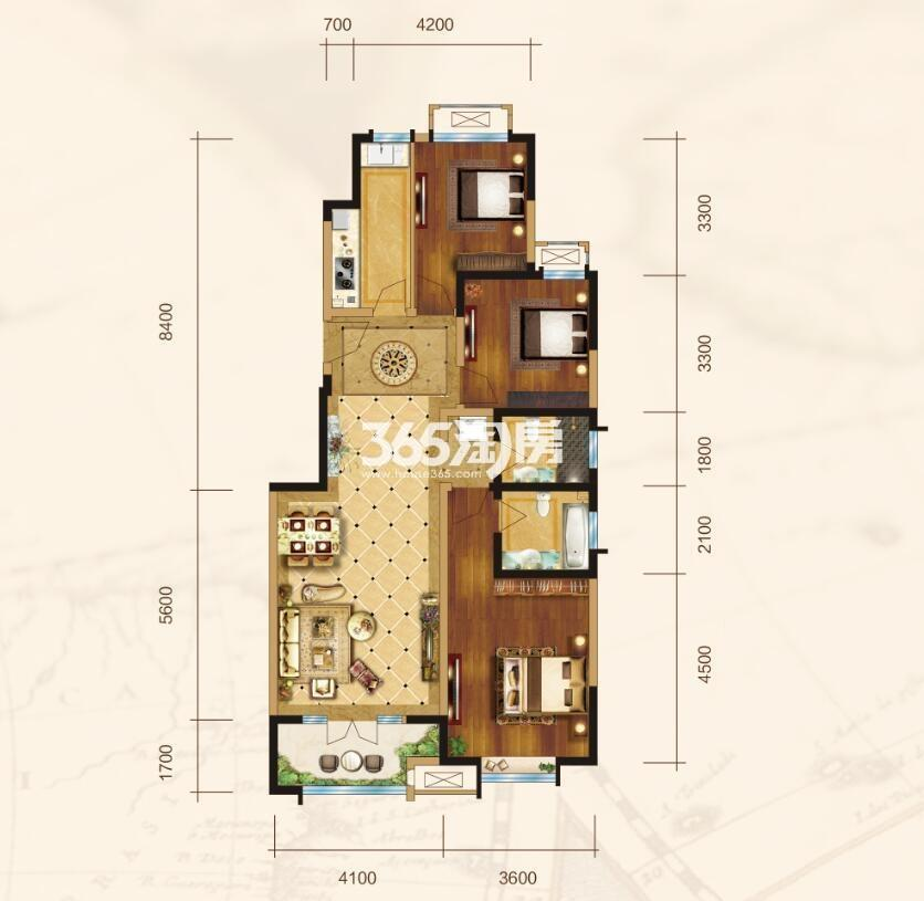洋房C户型3室2厅2卫