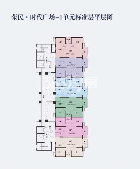 荣民时代广场1单元标准层平层图