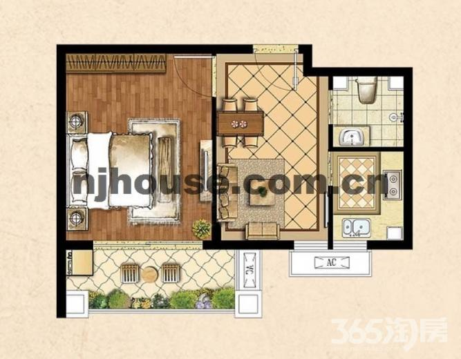 苏宁天华绿谷庄园1室2厅1卫44平方产权房精装