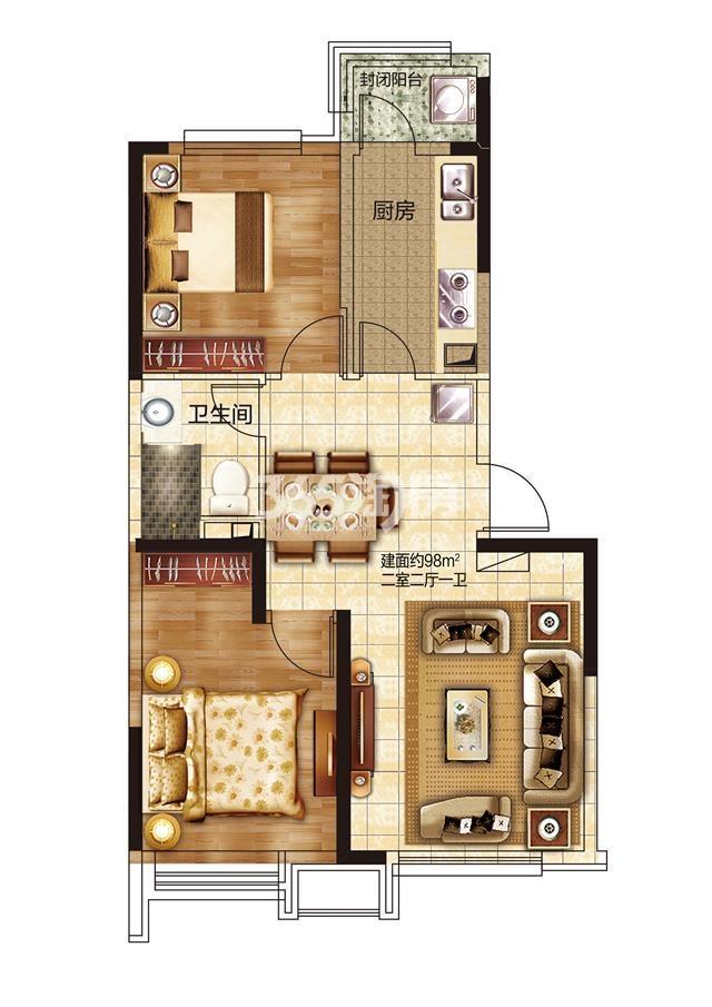 38#两室两厅一卫100.01㎡