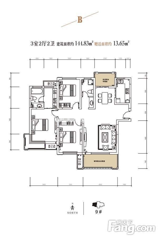 颐馨湿地壹號9#三室两厅一厨两卫144.8㎡B户型